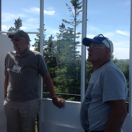 Owls Head, ME: A volunteer tour guide giving the history of the light house