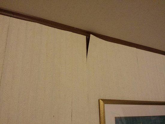 Super 8 by Wyndham Mackinaw City/Beachfront Area: wallpaper falling off wall