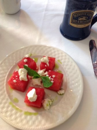 Brewster House Bed & Breakfast: Pressed watermellon with mint oil and feta ... spectacular!