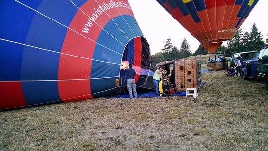 Vista Balloon Adventures: Getting the balloon ready to launch.
