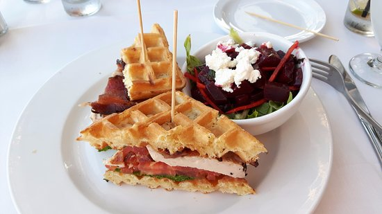 Starboard Grill: Chicken sandwich with waffle instead of bun and delicious beet salad.