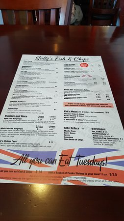 Salty's Fish & Chips: The menu