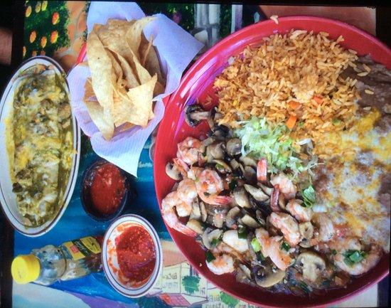 Los Corrales: Macho Burrito and Shrimp & Mushrooms in Garlic Sauce