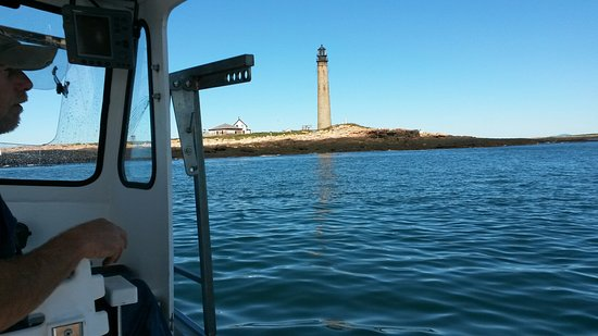 Milbridge, ME: Approaching Petit Manan Lighthouse and puffin nesting area.