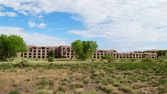 Hyatt Regency Tamaya Resort & Spa: View of rear of hotel from Biking trails