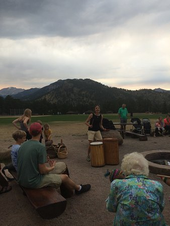 YMCA of the Rockies: drum circle with travelers of all ages having a blast