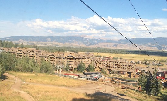 Four Seasons Resort and Residences Jackson Hole: View of resort from the gondola. August 2016.