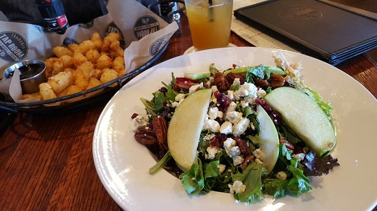 Woodbury, MN: Apple pecan salad & cheese curds with blueberry ketchup