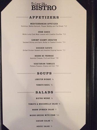 Longview, Техас: Dinner menu