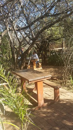 Centurion, Sydafrika: outside wooden table and bench
