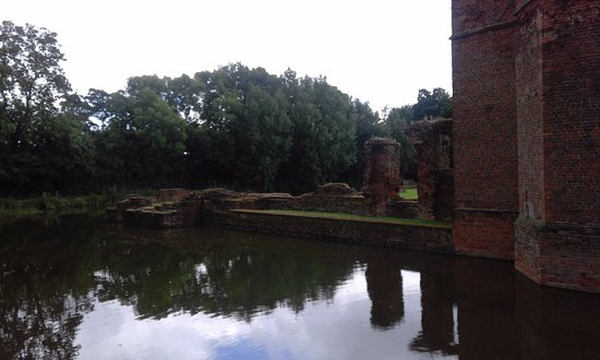 Kirby Muxloe, UK: base of north tower viewed from outside of moat