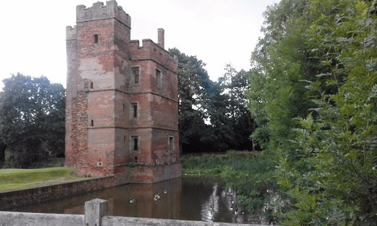 Kirby Muxloe, UK: West tower viewed from outside of moat (by bridge)