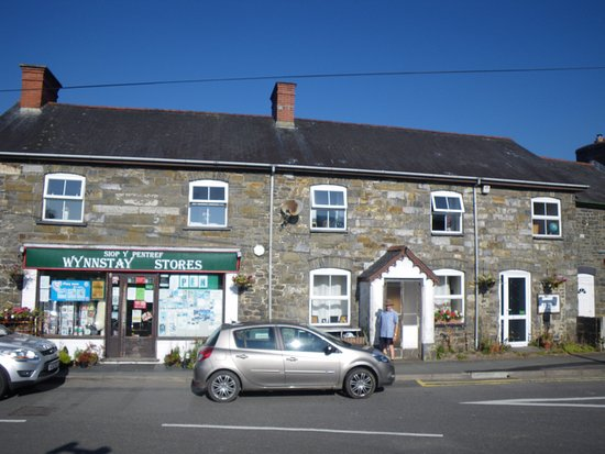 Llanbrynmair, UK: B+B on right, shop on left