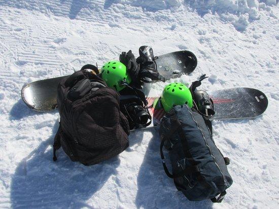 Farellones, Chile: Equipamento de snowbord alugado, prancha capacete (CLP 25,00) e aula (CLP 10,00)