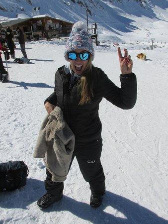 Farellones, Chile: Animação total - Observe que estou com uma bota de Snowbord