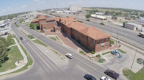 Dodge City, KS: The Depot Theater from the air.