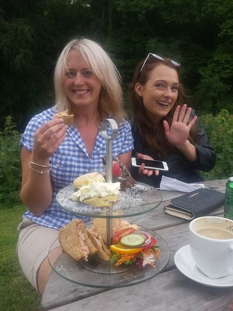 Sleights, UK: enjoying afternoon tea by the river