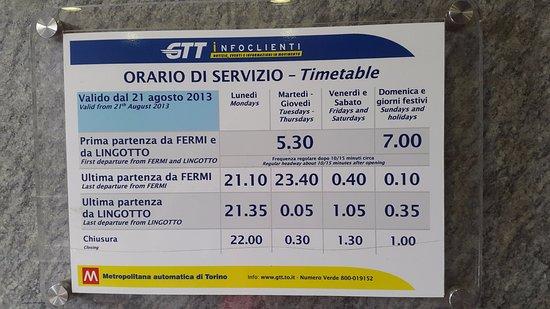 scegli autentico prezzo ragionevole prezzo ufficiale Orario - Picture of Metropolitana di Torino, Turin - TripAdvisor