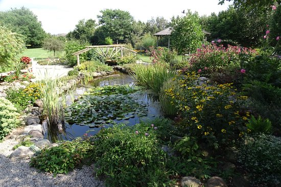 Elmira, Canada : Pond & gardens at Brubacher Homestead