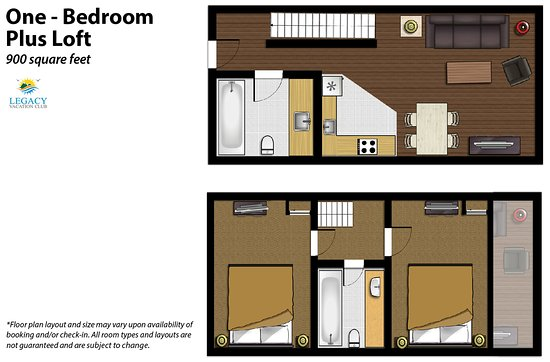 Legacy Vacation Resorts-Steamboat Hilltop: 1 Bedroom Floor Plan with Loft