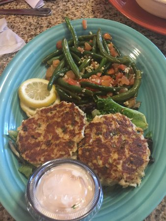 Matlacha, FL: Crab Cakes w/ green beans and tomatoes.