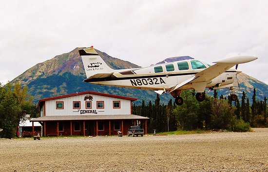 Port Alsworth, AK: main street is also a runway because there is no road access