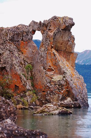 Port Alsworth, AK: while on a solo kayak trip I stumbled on an unusual rock formatio