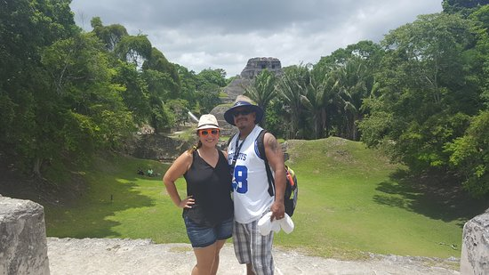District Belize, Belize: My husband and I, with El Castillo in the background. Beautiful place to visit!