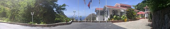 The Bottom, Saba: The driveway up to the main part of the hotel - and our superior suite.