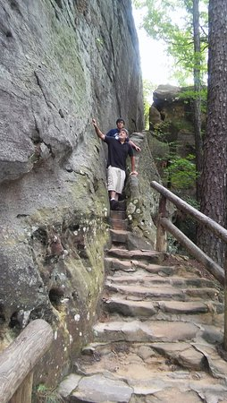 Winchester, KY: Fat Man's Misery staircase to Natural Bridge
