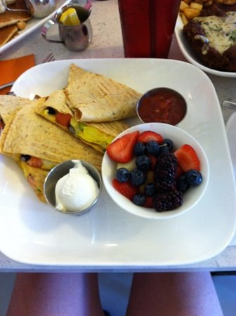 Bernie's Diner: Breakfast Quesadilla • scrambled eggs, cheddar jack cheese, green onion, tomato, black beans, co