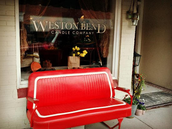 Weston, MO: Be sure to sit for a few minutes on our signature red bench.  It's a wonderful way to take in th