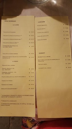 Province of Grosseto, Italy: Menu at Casale San Stefano