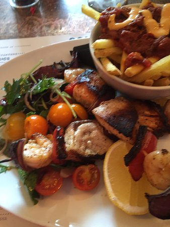 Prestwich, UK: Charcoal Grilled Seafood Skewers