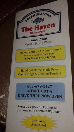 Epping, NH: Their menu with phone number