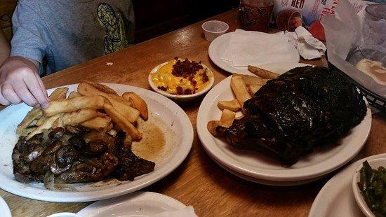 Harvey, LA: Ribeye steak smothered in mushrooms and onions/Rack of ribs