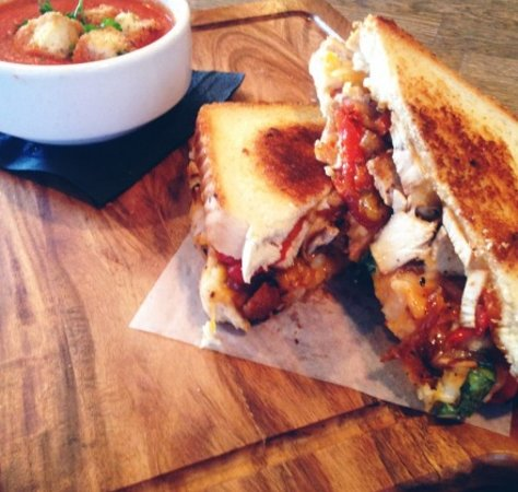 "White Rock, Canada: Chilli Chicken Grilled Cheese, Tomato Basil Bisque, Beef ""Vindsala"" And Triple Berry Ice Cream P"