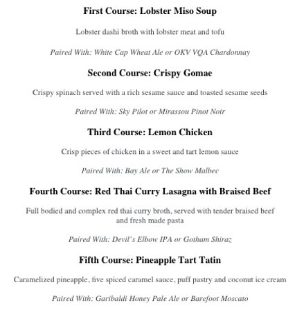 Abbotsford, Canadá: September's Sudo Asian Kitchen Pairing Dinners At All BC JRG Locations