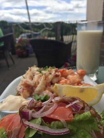 Sneem, Ireland: D O'Shea Local crabmeat & Atlantic prawn sandwich with salad