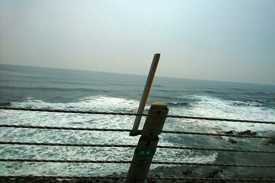 Nichinan, Japonya: 海岸そばを走る車の中から写す
