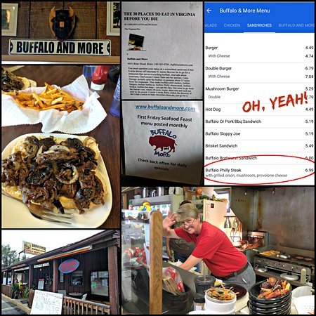 Riner, Wirginia: Mobile app menu, Cheese steak with fries, the front porch and owner/chef