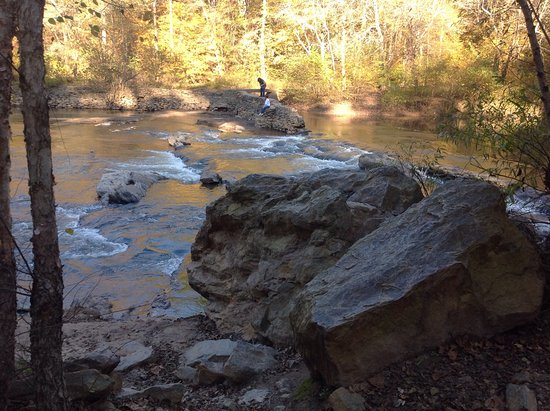 Woodstock, GA: Boulders and little rapids add to the beauty of your walk.