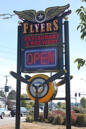 Oak Harbor, WA: Flyer's Sign - with WWII propeller.