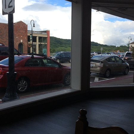 Sauk City, WI: The windows in front with the Wisconsin River bluffs in the background