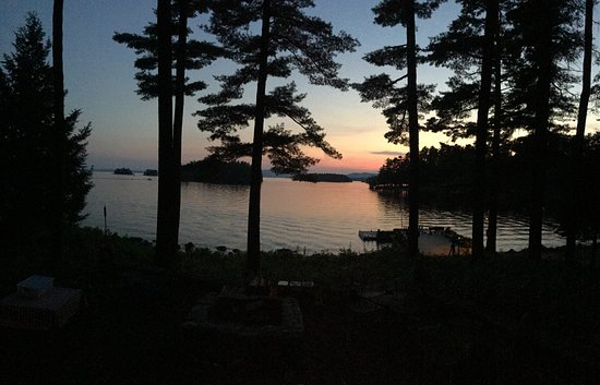 South Casco, ME: sunset from the lodge veranda