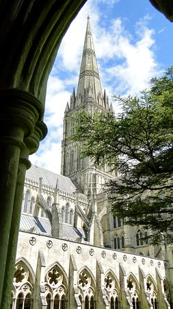 Salisbury Cathedral: Spire through a cloister arch
