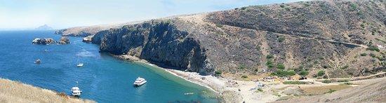 Santa Cruz Island Scorpion Ranch Campground : Birds-eye view of Scorpion Beach
