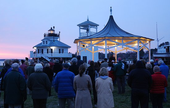 St Michaels, MD: Easter Sunday sunrise service at CBMM, Hoopers Strait Lighthouse in background