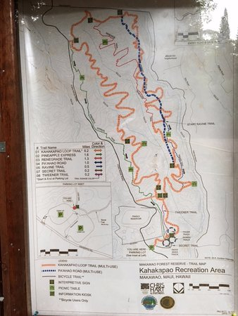 Makawao, HI: Trail map posted just inside the entry. Yellow line is the multi-use six-mile trail loop.