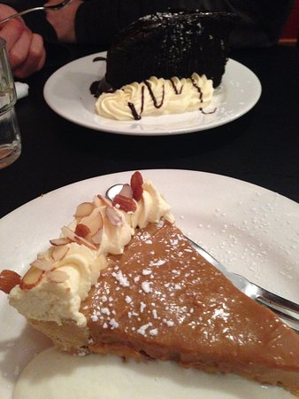 Palmerston North, New Zealand: Choc cake (rear of photo) and banoffee pie (front of photo)